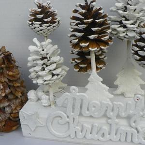 MERRY CHRISTMAS -vintage asztaldísz,asztalközép,koszorú, Karácsonyi dekoráció, Karácsony & Mikulás, Otthon & Lakás, Újrahasznosított alapanyagból készült termékek, Virágkötés, Természetes anyagok felhasználásával vintage stilusban karácsonyi dekoráció\n\nméret. fatalp20X10  mag..., Meska