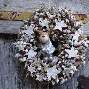Rénszarvas csodái -téli,  karácsonyi ajtódísz,koszorú,kopogtató,,asztaldísz,falidísz, Otthon & Lakás, Karácsony & Mikulás, Karácsonyi kopogtató, Virágkötés, Mindenmás,  fehér vintage téli- karácsonyi ajtódísz,falidísz,dekorációt készítettem.Egész télen megállja helyét..., Meska