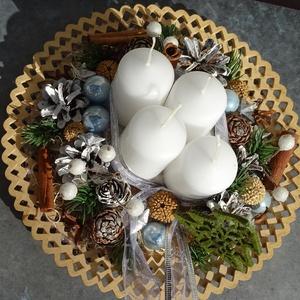 CSIPKÉS-ADVENTI-egyedi Karácsonyi koszorú, asztaldísz, ,, Otthon & Lakás, Karácsony & Mikulás, Adventi koszorú, Virágkötés, Egyedi, csipkeszélű  természetes alap díszítettem ,rusztikus,romantikus karácsonyi hangulatú dísz am..., Meska