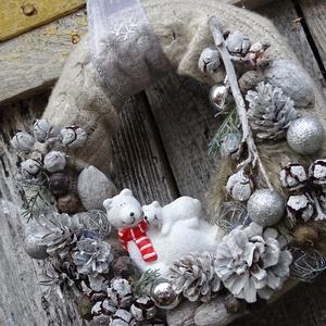 TÉLI vintage-kötött adventi,karácsonyi koszorú,ajtódísz, Karácsonyi kopogtató, Karácsony & Mikulás, Otthon & Lakás, Virágkötés, méret28cm\nEGYEDI, Meska
