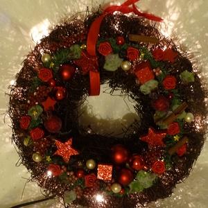 Karácsonyi fahéj illata-Világítós-adventi,karácsonyi koszorú,ajtódísz,kopoogtató, Karácsonyi kopogtató, Karácsony & Mikulás, Otthon & Lakás, Virágkötés, Egyedi,különleges,világítós,fahéj illatos falidíszt,ajtódíszt készítettem.\n\nméret 30cm, Meska