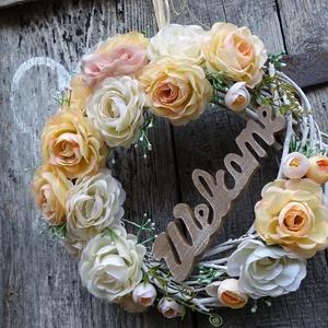 Romantikus idill-    (nagy méret) koszorú,ajtódísz,kopogtató, Lakberendezés, Otthon & lakás, Ajtódísz, kopogtató, Dekoráció, Dísz, Virágkötés, Romantikus idill pasztell színekben.\n Egyedi,tartós , ünnepi ,örök darab.\nEltudom képzelni esküvői d..., Meska