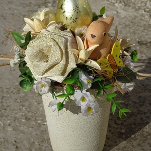 Arany tojás...Húsvéti asztaldísz ,lakásdekoráció, Dekoráció, Otthon & lakás, Dísz, Lakberendezés, Asztaldísz, Virágkötés, Húsvéti,tavaszi lakásdekoráció\n\nméret 23x16cm, Meska