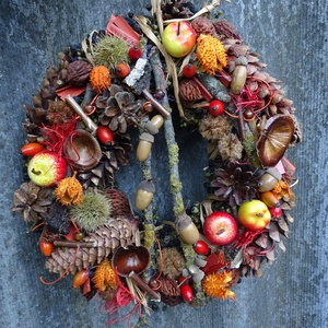 Almás őszi-termés ajtódísz,kopogtató,koszorú, Dekoráció, Otthon & lakás, Dísz, Lakberendezés, Ajtódísz, kopogtató, Mindenmás, Virágkötés, Az ŐSZ csodálatos színeit szerettem volna megmutatni ebben a koszorúban,-káprázatos,egyszerűen nem t..., Meska
