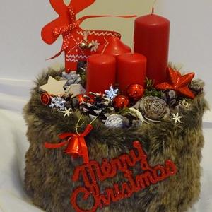 -Skandináv karácsony rénszarvassal: adventi karácsonyi, koszorú asztaldísz, Adventi koszorú, Karácsony & Mikulás, Virágkötés, Újrahasznosított alapanyagból készült termékek, .Díszitsd otthonod,ajándéknak is kiváló.\negyedi\nméret:26x28cm\n\n\n, Meska