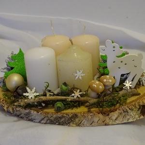 Téli természet,Őzikés,Téli,karácsonyi adventi asztaldísz,asztalközép, koszorú  - Meska.hu