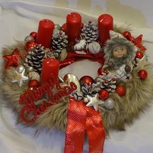 Merry Christmas- Karácsony,-szőrmés adventi asztaldísz,koszorú, Otthon & Lakás, Karácsony & Mikulás, Adventi koszorú, Virágkötés, Újrahasznosított alapanyagból készült termékek, méret 38cm, Meska