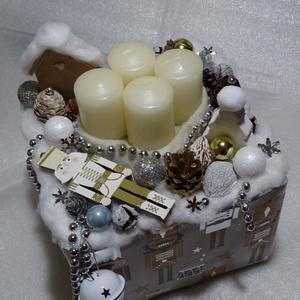 DIÓTÖRŐ  arany,ezüst ünnepi színekben adventi asztaldísz,box, Otthon & Lakás, Karácsony & Mikulás, Adventi koszorú, Virágkötés, méret 19x19cm mag 14cm -össz mag-24cm, Meska