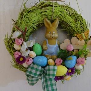 Húsvéti,tojásos ,színes nyuszikás ajtódísz,kopogtató,koszorú, Otthon & Lakás, Dekoráció, Ajtódísz & Kopogtató, Virágkötés, Fonás (csuhé, gyékény, stb.), A gyönyörű tavaszi napsütés fénye és melege, a kibújó tavaszi virágok,-éled a természet- adta az ötl..., Meska