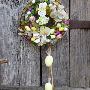 Kikelet- nyuszikás,tavaszi,húsvéti ajtódísz.koszorú,kopogtató, Lakberendezés, Otthon & lakás, Ajtódísz, kopogtató, Dekoráció, Dísz, Virágkötés, Mindenmás, -Tavaszi,húsvéti díszítés.,virággal,tojással,nyuszikával.\nméret 25cm\n , Meska