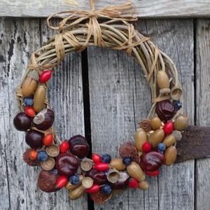Csipkekökény .....őszi ajtódísz,koszorú,kopogtató, Otthon & Lakás, Ajtódísz & Kopogtató, Dekoráció, Virágkötés, Meska