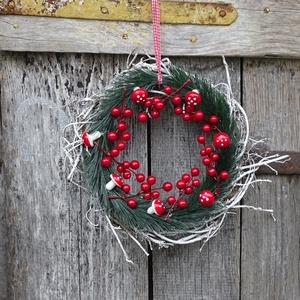 Téli kócos,adventi,karácsonyi  ajtódísz,koszorú,kopogtató, Karácsony & Mikulás, Karácsonyi kopogtató, Virágkötés, méret 32cm \n, Meska