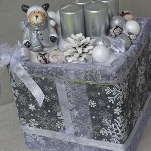 Rénszarvas Ezüst karácsony,asztaldísz,koszorú,box,doboz, Karácsony & Mikulás, Adventi koszorú, Virágkötés, 20x20cm 15cm mag, Meska
