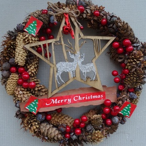 BOGYÓS-Téli,karácsonyi,adventi(nagy méret) kopogtató,ajtódísz,koszorú, Karácsony & Mikulás, Karácsonyi kopogtató, Virágkötés, méret 38cm\n\nEGYEDI\n\nnagy méret, Meska