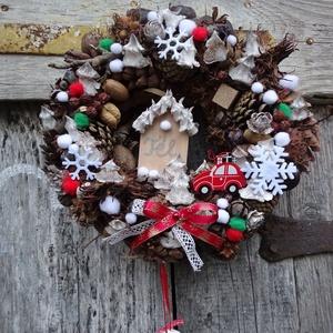 Téli termés: csilingelő ajtódísz,koszorú,kopogtató., Karácsony & Mikulás, Karácsonyi kopogtató, Virágkötés, téli,natur,piros EGYEDI kedvelőknek\nméret 30cm, Meska