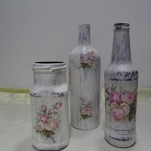 Vintage-díszüveg,asztaldísz, lakásdekoráció(3db garnitura) - Meska.hu