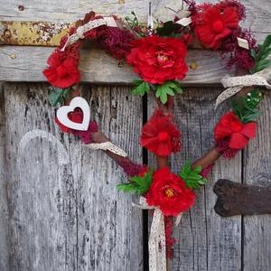 Úgy szeretném meghálálni...romantikus, rusztikus, szív ajtódísz,koszorú,kopogtató, Otthon & Lakás, Dekoráció, Ajtódísz & Kopogtató, Fonás (csuhé, gyékény, stb.), Virágkötés, Meska