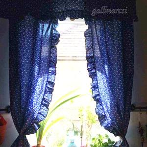 Kékfestő függöny, romantikus sötétítőfüggöny, díszfüggöny  (gallmarcsi) - Meska.hu