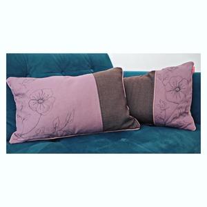 Purple P párnahuzat, Otthon & lakás, Lakberendezés, Lakástextil, Párna, Párnahuzat szabad gépi virághímzéssel díszítve. 40 x 60 cm-es párnához. Van egy másik tesvére is enn..., Meska