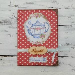 Tea ötkor / Piros pöttyös - receptfüzet, vintage napló, jegyzetes, Receptfüzet, Konyhafelszerelés, Otthon & Lakás, Decoupage, transzfer és szalvétatechnika, Sütemény recepteknek vagy kedvenc ételeid receptjének egy különleges füzet.\n\nA vintage naplót dekupá..., Meska