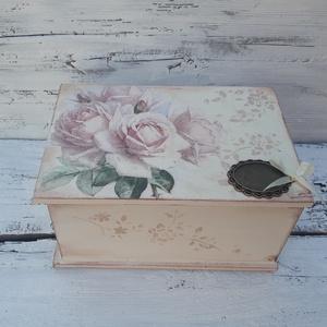 Rózsás nosztalgia doboz- Ékszertartó, esküvői ajándék doboz, (garievi) - Meska.hu