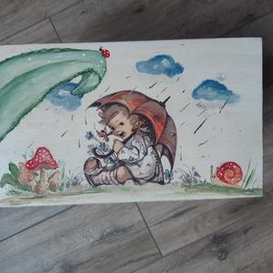 Esőcseppek mesesámli - nosztalgia  sámli kicsiknek, nagyoknak, Gyerek & játék, Bútor, Otthon & lakás, Pad, Festett tárgyak, Decoupage, transzfer és szalvétatechnika, Kedves esernyős kislány mintás fenyőfa sámli gyerekszobába kicsiknek, nagyoknak.\n\nFinom pasztell árn..., Meska