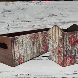 Rózsás kalitkás asztali tároló szett, írószeres tároló szett, Íróasztali tároló, Tárolás & Rendszerezés, Otthon & Lakás, Decoupage, transzfer és szalvétatechnika, A  fatárolókban az írószerek, apróságok jól elférnek. \nA rózsás kalitkás rizspapírral borított felül..., Meska
