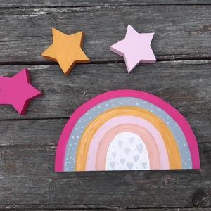 Happy Stars - 4db- os gyerekszobai dekoráció, babaszobába, kislányoknak , Otthon & Lakás, Falra akasztható dekor, Dekoráció, Egyedi, fali dekoráció babaszobába, kislányok szobájába. A szett 4 db áll. Polisztirol anyagú formák..., Meska