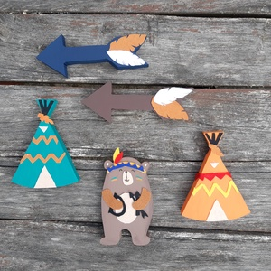 Mackó indiánsátorral - fali szett, dísz, gyerekszobai dekoráció, Játék & Gyerek, Varrás, Meska