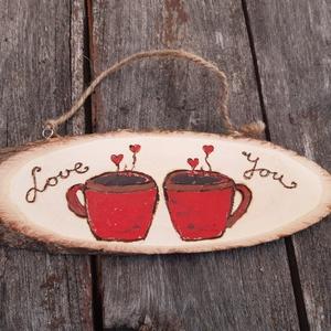 Kávészerelem - akasztós tábla, dísz, Otthon & lakás, Dekoráció, Dísz, Egyéb, Lakberendezés, Ajtódísz, kopogtató, Decoupage, transzfer és szalvétatechnika, Szeretitek a kávét és az illatát? Legyen \n otthonotok dísze ez a kávés akasztós dísz. Ajtóra, falra ..., Meska