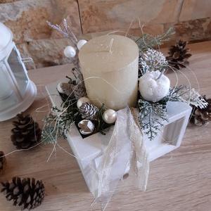 Hóesés-Adventi fiók,  karácsonyi  dekoráció, asztali dísz, Otthon & Lakás, Karácsony & Mikulás, Karácsonyfadísz, Varrás, Nosztalgikus stílus kedvelőinek készítettem ezt az adventi asztali díszt.\nA fehér fióba a gyertya me..., Meska