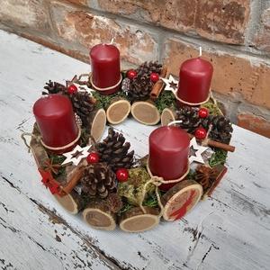 Karácsonyi erdő Adventi koszorú,  karácsonyi  dekoráció, rusztikus asztali dísz, Otthon & Lakás, Karácsony & Mikulás, Karácsonyfadísz, Varrás, Fények az ünnepi  karácsonyi asztalon. \nRusztikus stílus kedvelőinek készítettem ezt az adventi kosz..., Meska