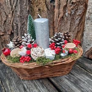 Hagyományos karácsony-Adventi dekoráció,  karácsonyi  asztali dísz, Karácsony & Mikulás, Karácsonyfadísz,  Az adventi időszakban ez a kis kosárka szép dísz lehet a bjárati ajtónál, ablakpárkányon, asztalon ..., Meska