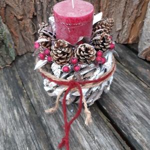 Hamvas Vörös Áfonya-adventi dekoráció,  karácsonyi  asztali dísz, Karácsony & Mikulás, Karácsonyfadísz,  Az erdei vörös áfonyát  és deres téli világot idézi ez a különleges egyedi asztali dísz.  A rőzse k..., Meska