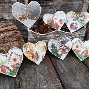 Vintage szívek- karácsonyi akasztós szívek, dekoráció, díszek , Karácsony & Mikulás, Karácsonyfadísz, Karácsonyi szívek a vintage jegyében,  Felfűzheted, akaszthatod fára, falra ,gallyakra, szép dekorat..., Meska