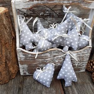 Ezüst karácsony-Szürke fehér karácsonyi akasztós díszek, dekoráció, díszek  Utolsó darabok!!!!, Karácsony & Mikulás, Karácsonyfadísz, Karácsonyi díszek a vintage jegyében,  Felfűzheted, akaszthatod fára, falra ,gallyakra, szép dekorat..., Meska
