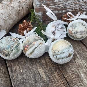 Havas falu- karácsonyfa dísz,  dekoráció,  karácsonyi gömbök 1 csomag, Karácsony & Mikulás, Karácsonyfadísz, Ezeket a hungarocell gömböket a nosztalgia jegyében készítettem.  Hópasztáztam, lakkoztam a felületé..., Meska