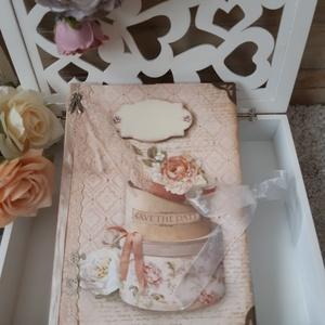 Esküvőnk lapjai- Esküvői vendégkönyv, vintage emlékkönyv napló, A5, Esküvő, Meghívó & Kártya, Papírművészet, Esküvői vendégkönyv, emlékkönyv a szép pillanatok megörökítésére.\nAjándéknak is adhatod, de magatokn..., Meska