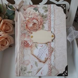Rózsás Esküvői vendégkönyv, emlékkönyv, vintage Napló A5, Esküvő, Emlék & Ajándék, Album & Fotóalbum, Papírművészet, Az esküvüi napló a szép pillanatok őrzője lehet.\n\nNászajándékba is adhatod, vagy magatoknak is egy e..., Meska