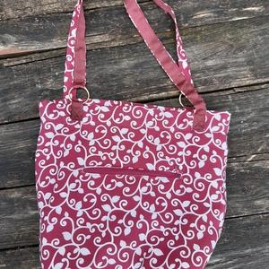 Bordó- fehér indás leveles női textil táska, Táska & Tok, Bevásárlás & Shopper táska, Varrás, Dekoratív, egyedileg készített női táska.\n\nA minőségi dekor vászonból készült. Külső zseb az apróság..., Meska
