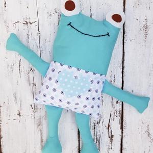 Brekus- párnabarát, textil figura, játék, egyedi párna babáknak, gyerekeknek, Játék & Gyerek, Plüssállat & Játékfigura, Béka, Varrás, Vidám békapárna türkiz zöldben a kicsiknek az alváshoz, de kedves játék is lehet. Egyedi tervezésű.\n..., Meska