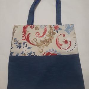 Kék és virágos táska, NoWaste, Bevásárló zsákok, zacskók , Táska, Divat & Szépség, Táska, Válltáska, oldaltáska, Szatyor, Varrás, A táska kék farmerhatású és virág mintás vászonból készült, bélelve, belül egy zsebbel és kulcstartó..., Meska