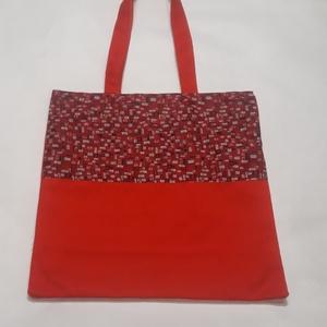 Piros kockás táska, NoWaste, Bevásárló zsákok, zacskók , Táska, Divat & Szépség, Táska, Válltáska, oldaltáska, Szatyor, Varrás, A táska piros, és kockás vászonból készült, bélelve, belül egy zsebbel és kulcstartó karabinerrel.\nL..., Meska