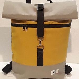 Yellow sárga vízálló roll up hátizsák, Táska, Divat & Szépség, Táska, Hátizsák, Laptoptáska, Varrás, A táska sárga és szürke vízálló vászonból készült, elől egy cipzáras zsebbel. Belül egy nagyobb lapt..., Meska