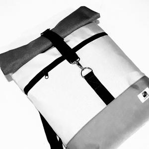 Szürke és fehér vízálló roll up hátizsák, Táska, Divat & Szépség, Táska, Hátizsák, Válltáska, oldaltáska, Laptoptáska, Varrás, A táska szürke és hajszálcsíkos fehér vízálló vászonból készült, elől egy cipzáras zsebbel. Belül eg..., Meska