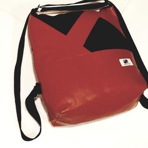 Piros-fekete textilbőr, műbőr hátizsák és válltáska egyben, Táska, Divat & Szépség, Táska, Hátizsák, Válltáska, oldaltáska, Varrás, Piros és fekete sźínű kárpitos műbőr táska. Hátul egy nagy zsebbel ami húzózárral záródik, bélelt, b..., Meska