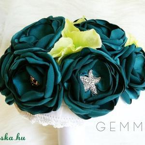 Színes textilcsokor strasszal, gyönggyel (gemma) - Meska.hu