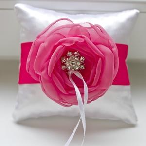 Mini gyűrűpárna  pink-fehér, Esküvő, Kiegészítők, Gyűrűtartó & Gyűrűpárna,  VÉGKIÁRUSÍTÁS A GEMMAROSES VÉGLEGES MEGSZŰNÉSE ELŐTT.  UTOLSÓ, KÉSZLETEN MEGMARADT TERMÉKEIMET ADOM..., Meska