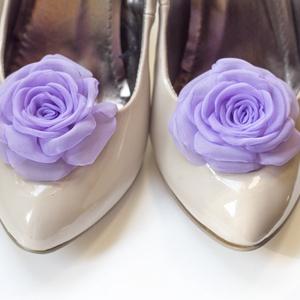 Orgonalila rózsa cipőklipsz (gemma) - Meska.hu