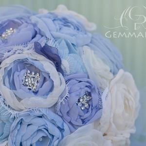 Kék-ekrü vintage bross csokor - nagy méret (gemma) - Meska.hu